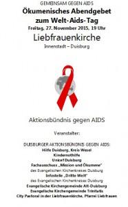 Abendgebet Welt-AIDS-Tag 2015